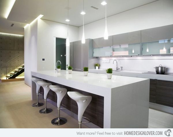 Beau Tear Drop Shaped Pendant Lighting Complement The Caesarstone Countertop.