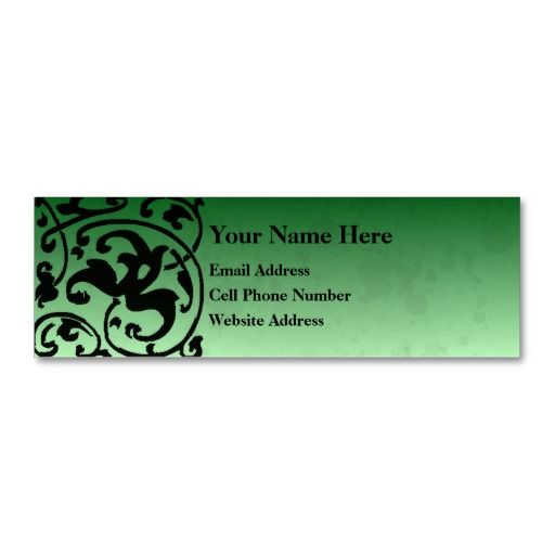 Deco Grunge Skinny Profile Card Business Card Templates Green Business Templates Cards