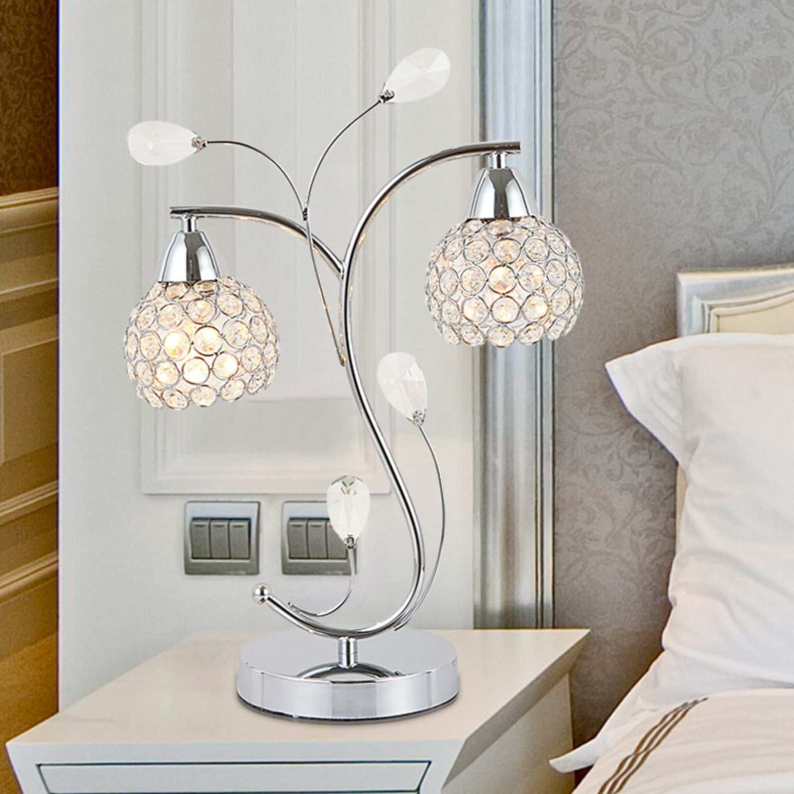 Table Lamps Furniture Charming And Awesome Bedside Table Lamps For Your Crystal White Gla Table Lamps For Bedroom Modern Lamps Bedroom Bedroom Lamps Design