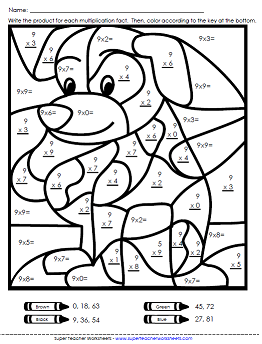 Math color Worksheets Multiplication Worksheets Basic