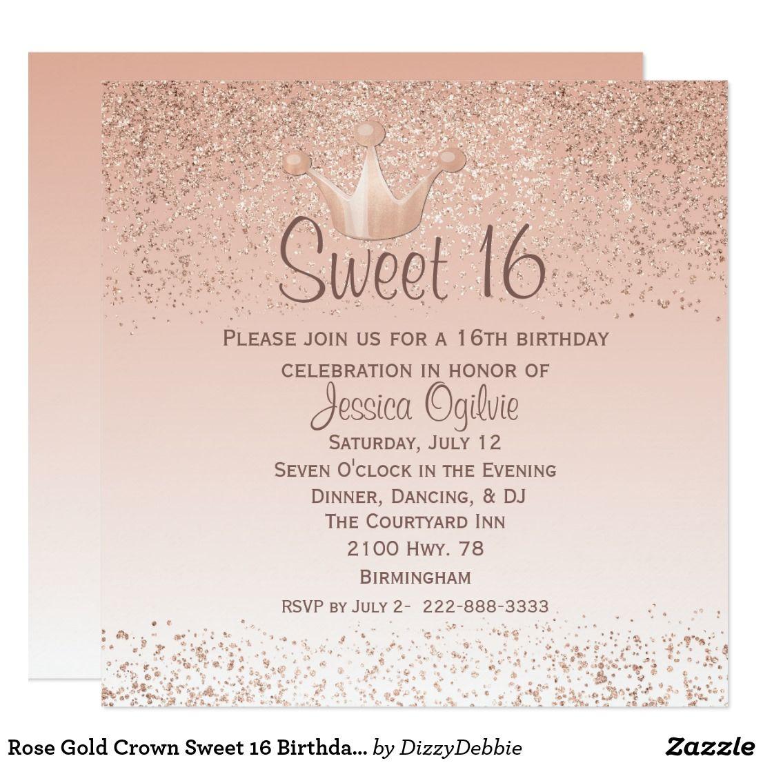 Rose Gold Crown Sweet 16 Birthday