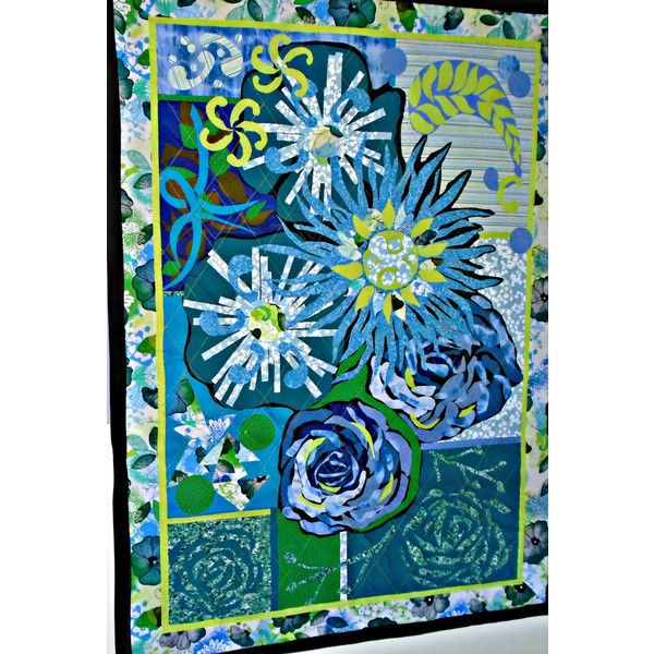Quilted Wall Hanging, Art Quilt, Applique Quilt, Decorative Quilt,... (€185) ❤ liked on Polyvore featuring home, home decor, wall art, green wall art, fabric wall art, inspirational wall art, moon wall art and inspirational home decor