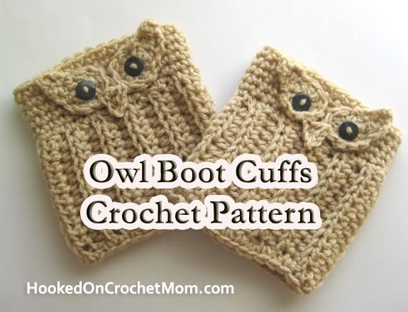 Owl Boot Cuffs And Gloves Crochet Pattern | Eule, Futter und Mappen