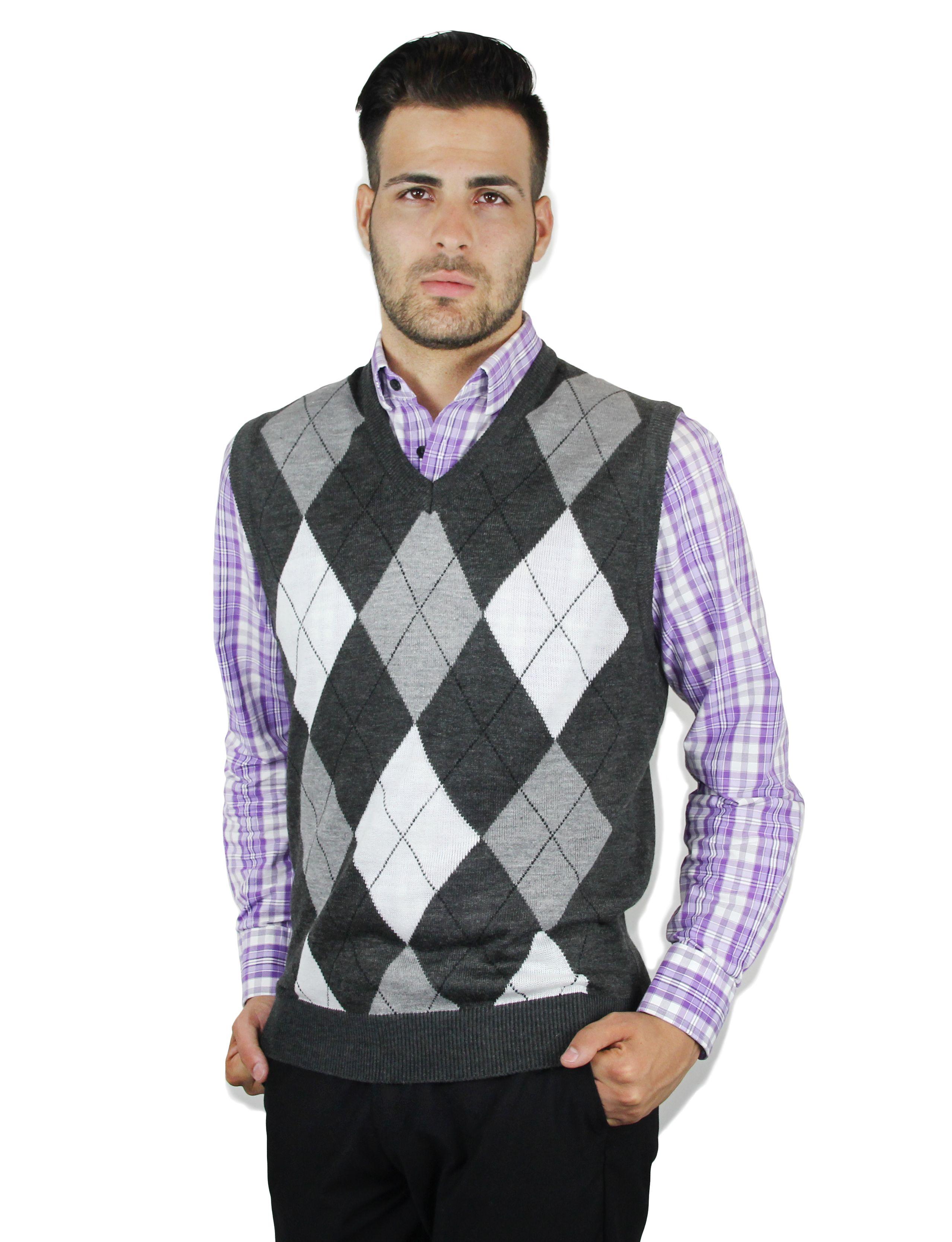 Grey argyle vest over a purple button,down shirt