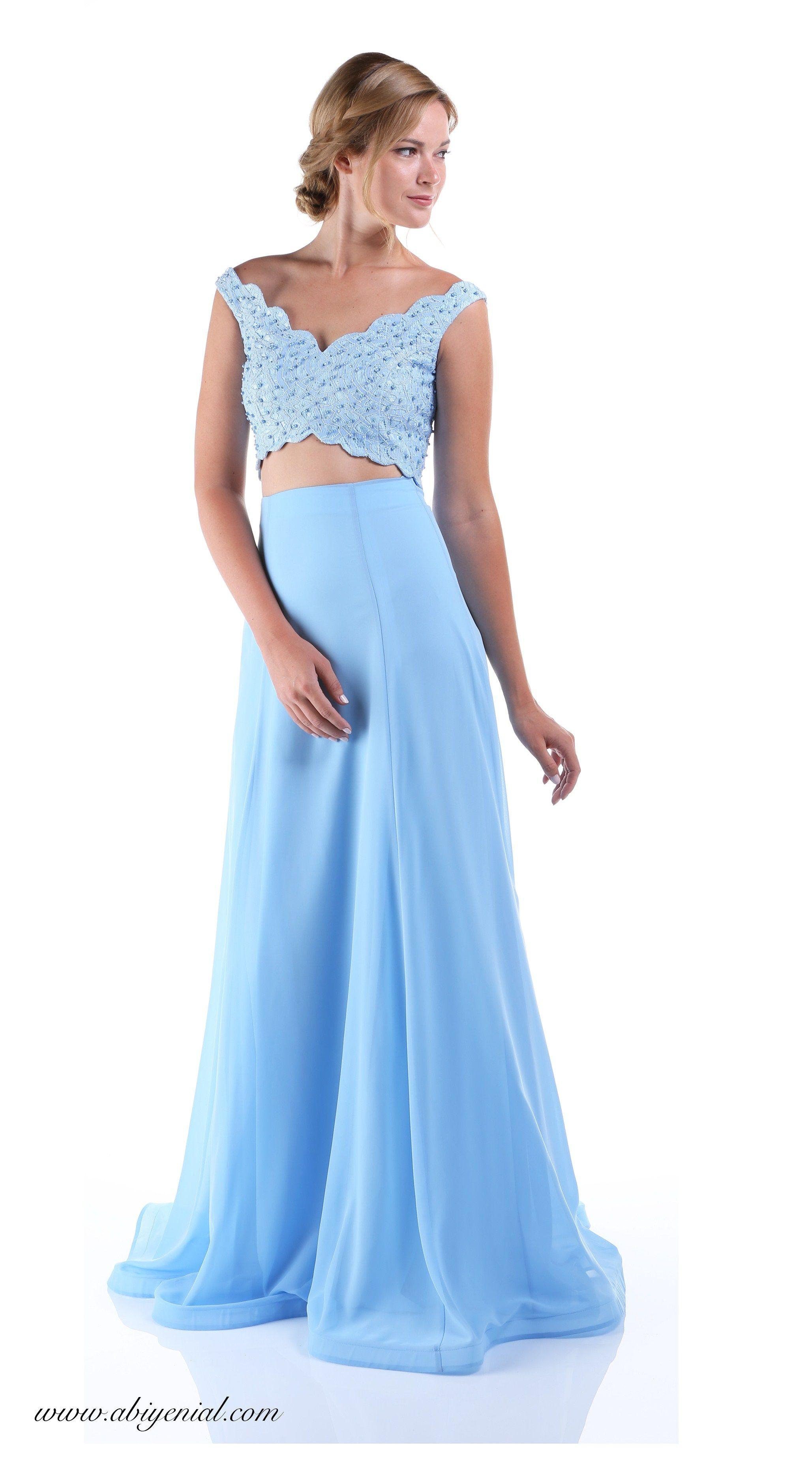 2118 Bebek Mavi Abiye Elbise Elbise Resmi Elbise Moda Stilleri