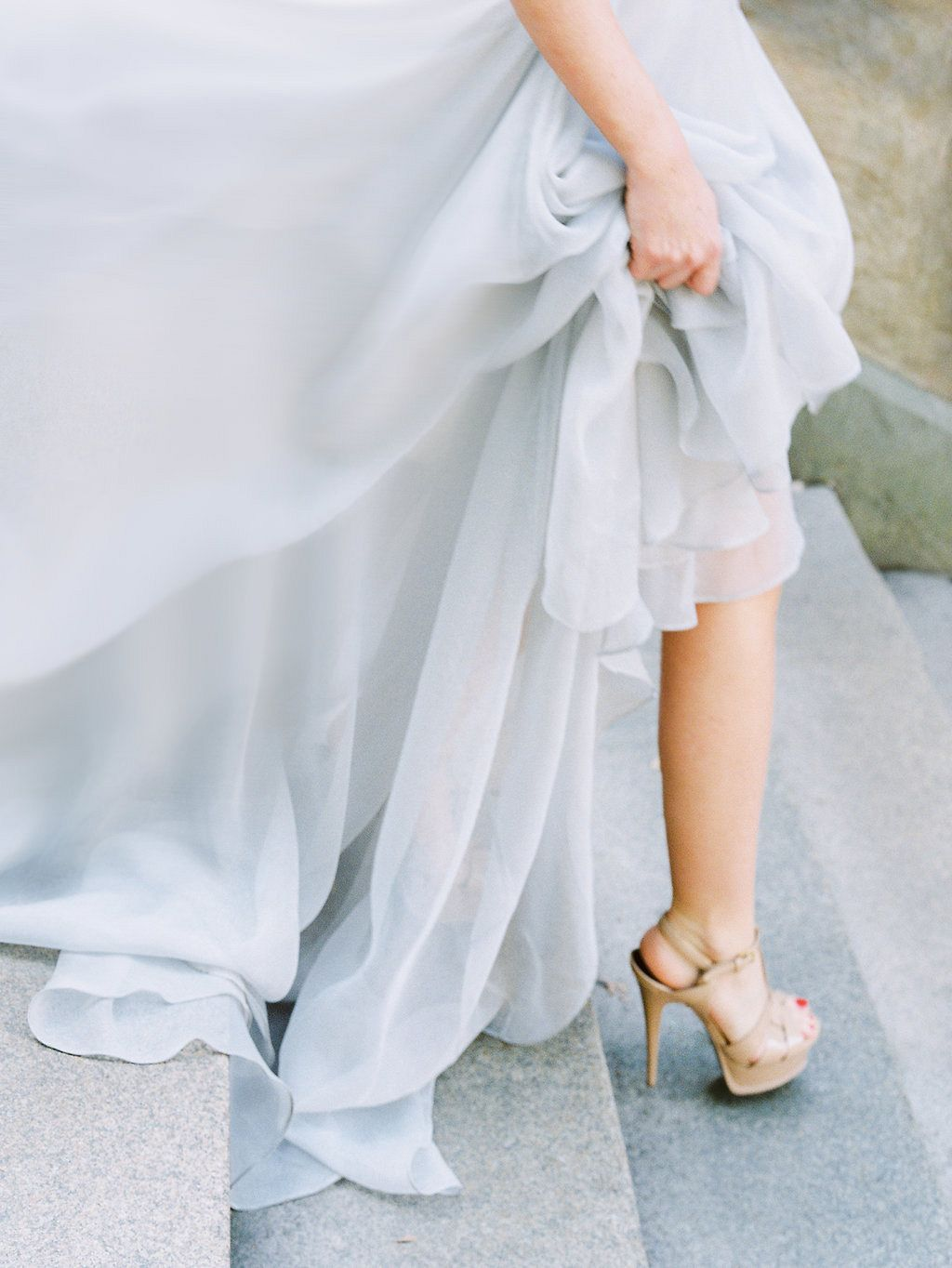 Central park elopement in a pale blue wedding gown wedding