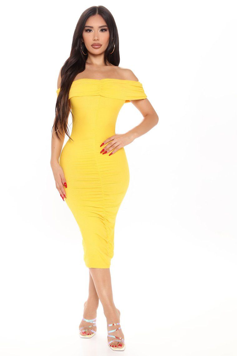 Come To Decide Off Shoulder Midi Dress Yellow Yellow