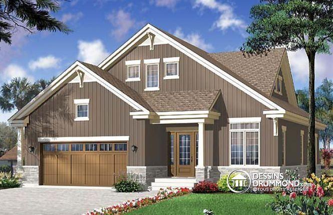 W3608 - Plan de Maison pour terrain étroit, style Craftsman, 4 à 5 - plans de maison moderne