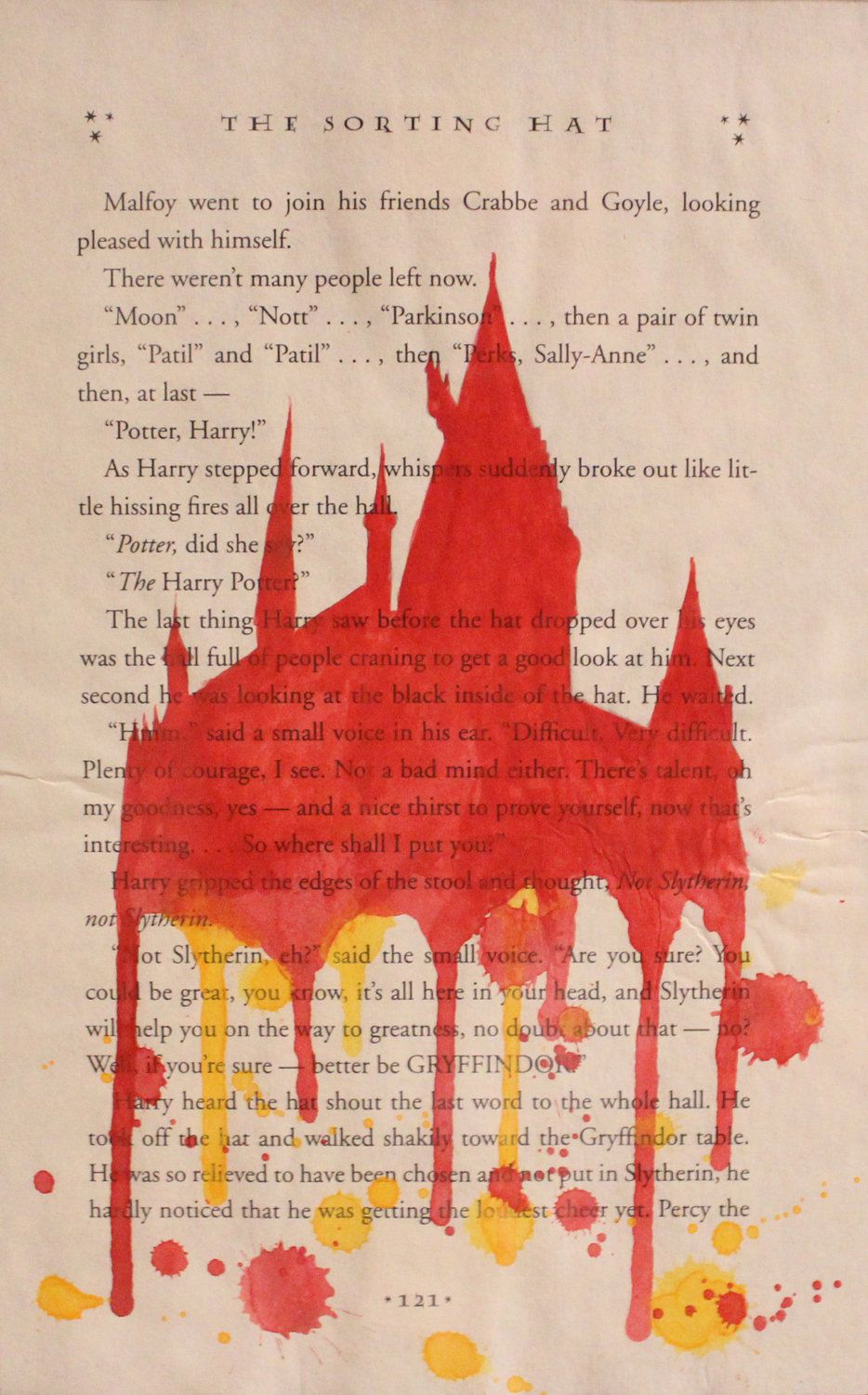 Gryffindor Hogwarts Painting On Harry Potter Book Page Framed 10000 Via Etsy
