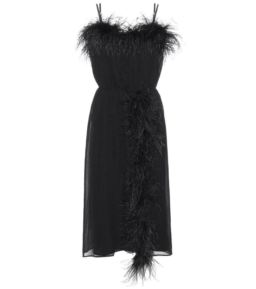 Prada Feather Trimmed Silk Dress An Opulent Theme Seen At Prada S Latest Runway Show Was The Use Of Fluffy Black Feather Dress Dresses Silk Cocktail Dress [ 1000 x 885 Pixel ]