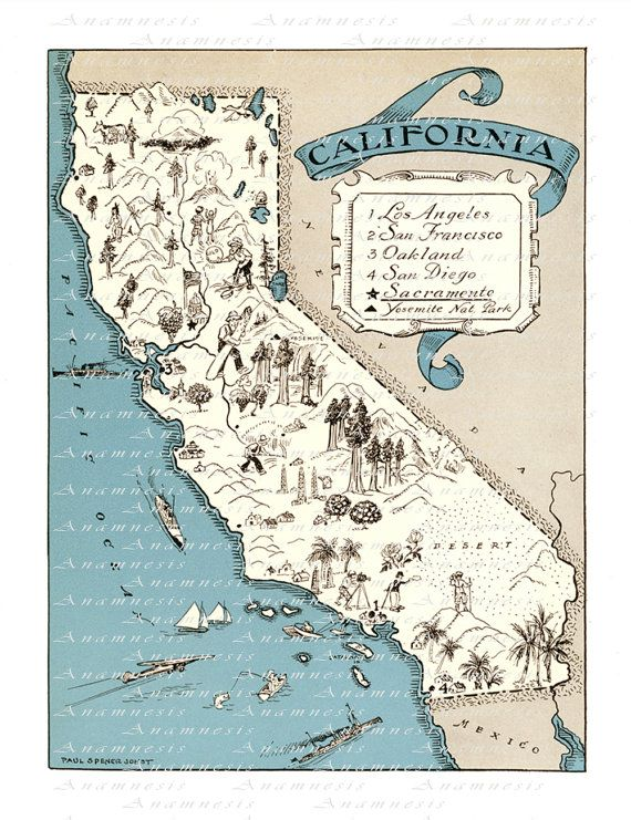 CALIFORNIA MAP Print Digital Download printable by Anamnesis