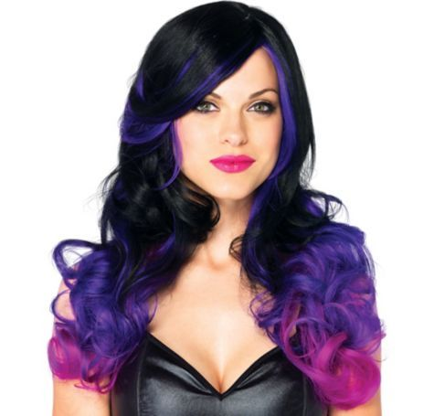 Allure Black And Purple Ombre Wig Party City Ombre Wigs Purple Wig Dark Purple Hair Color