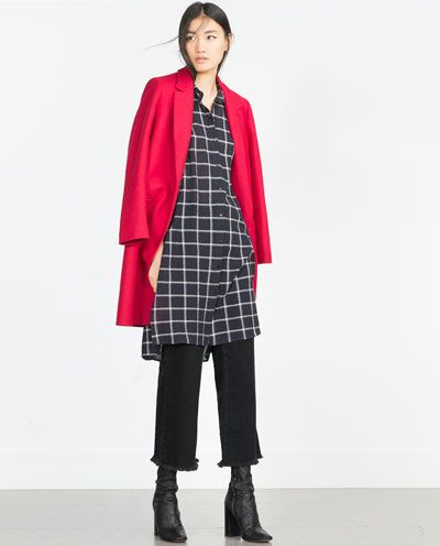 Image 1 of LONG CHECKED TUNIC from Zara