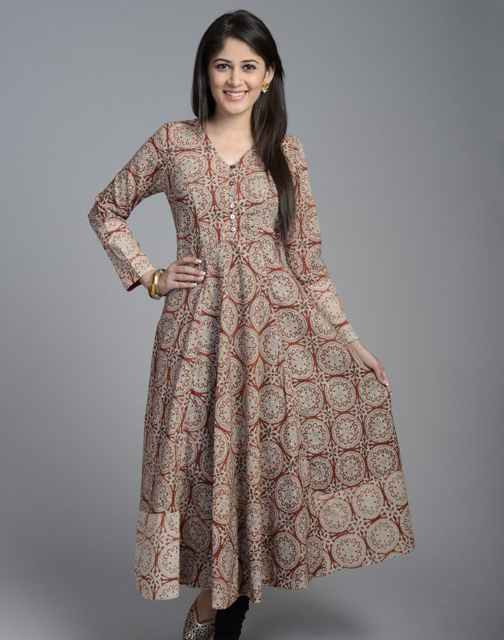 0a7ac5299fb Cotton Printed Anarkali Full Sleeves Long Kurta--I bought this. One of my  favorites.