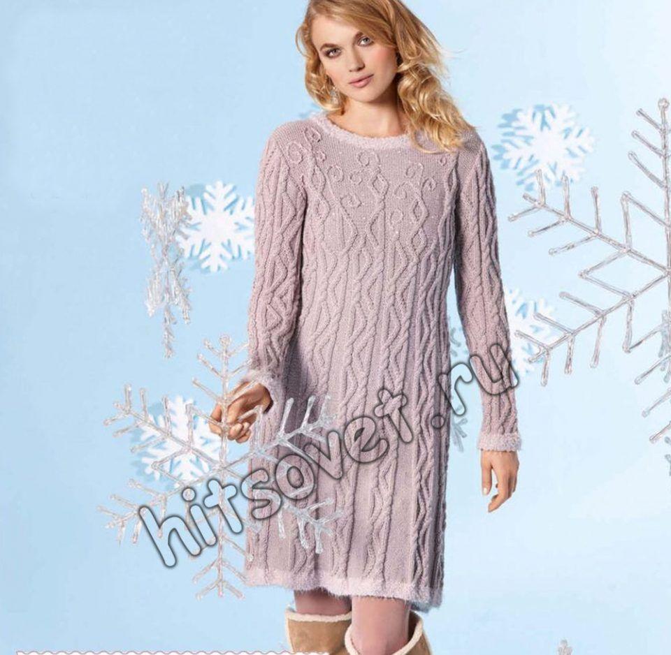 Платье к новому году спицами