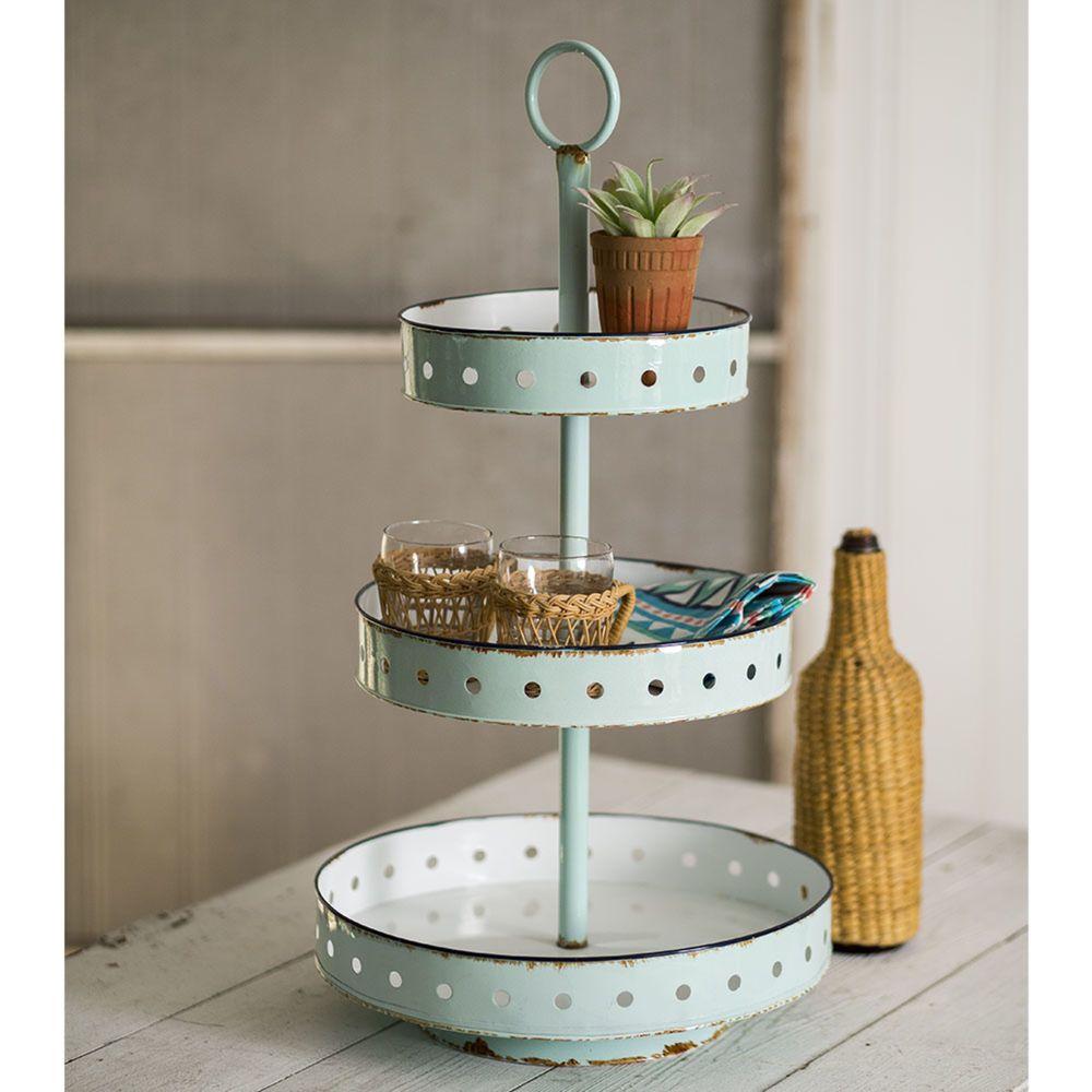 3 tier metal display stand centerpiece plants cupcakes