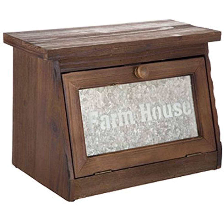 Farmhouse Bread Box for Kitchen Counter Rustic Wood