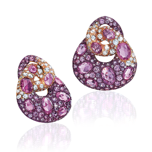Cellini Jewelers ~Purple Sapphire Earrings set with rose-cut purple sapphires and accented with brilliant-cut diamonds in 18k rose gold