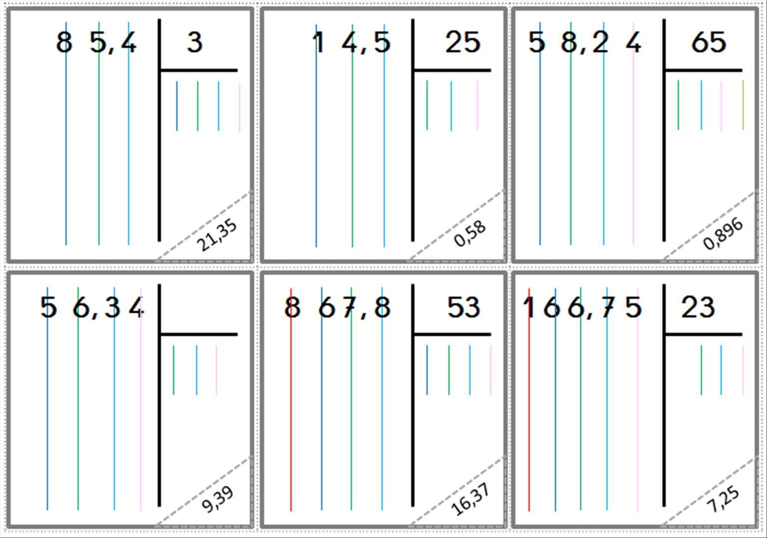 Cartes division posée | Division posée, Division cm1, Division écrite
