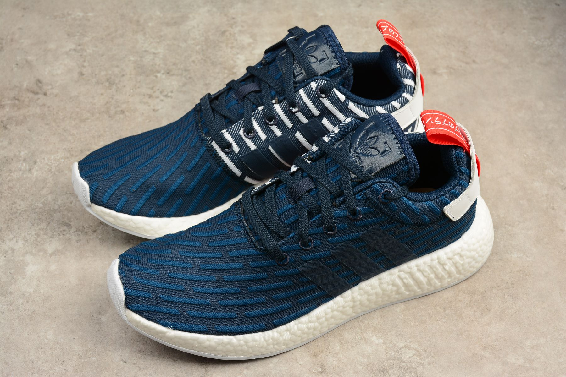 "2018 New adidas NMD R2 Primeknit ""Collegiate Navy"" Navy White-Red BB2952 a08a26abc"