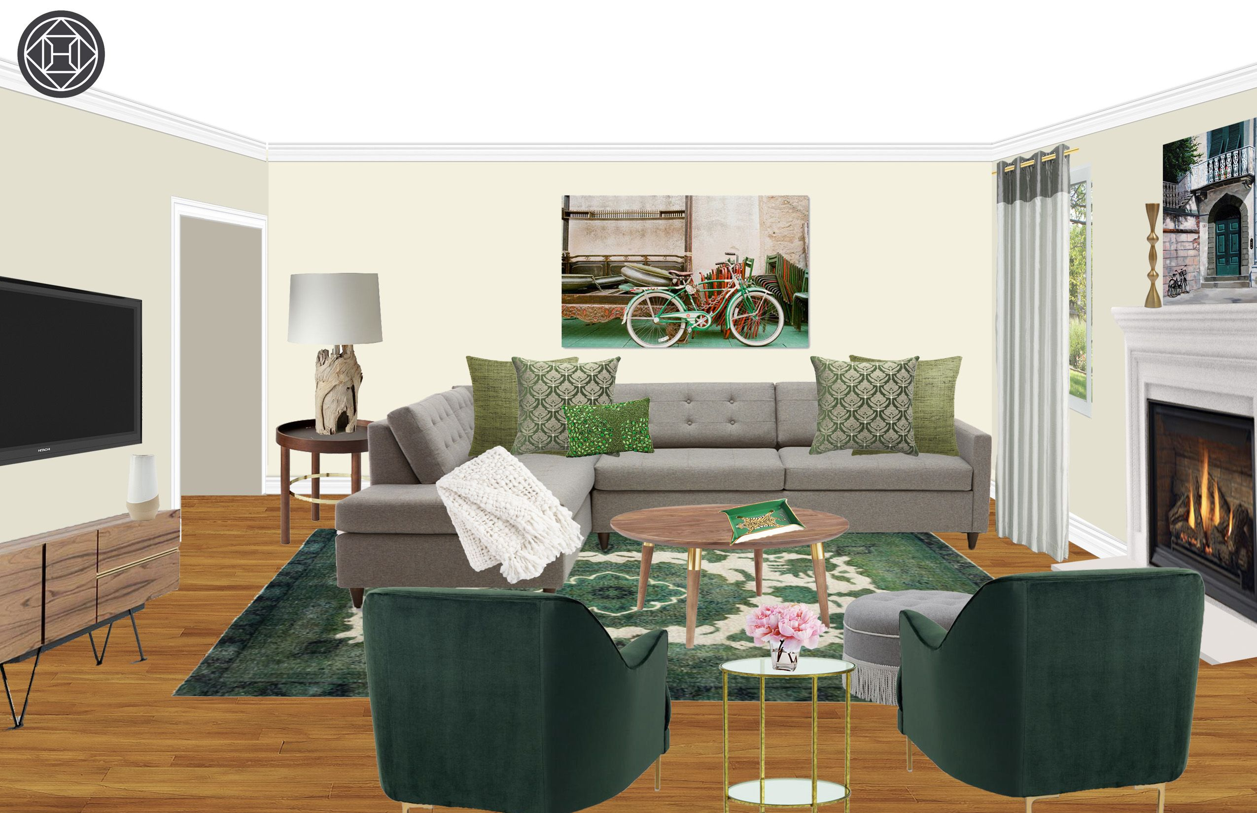 contemporary, modern, eclectic, bohemian, glam, midcentury modern living room designhavenly