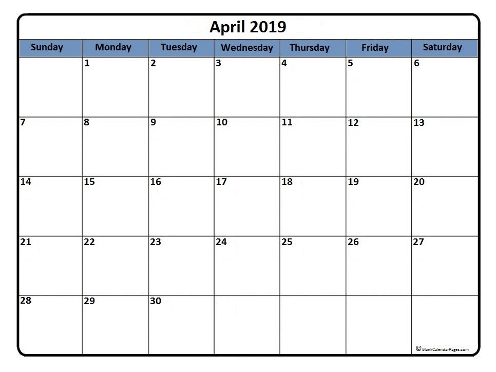 Month Of April 2019 Printable Calendar Calendar Printables