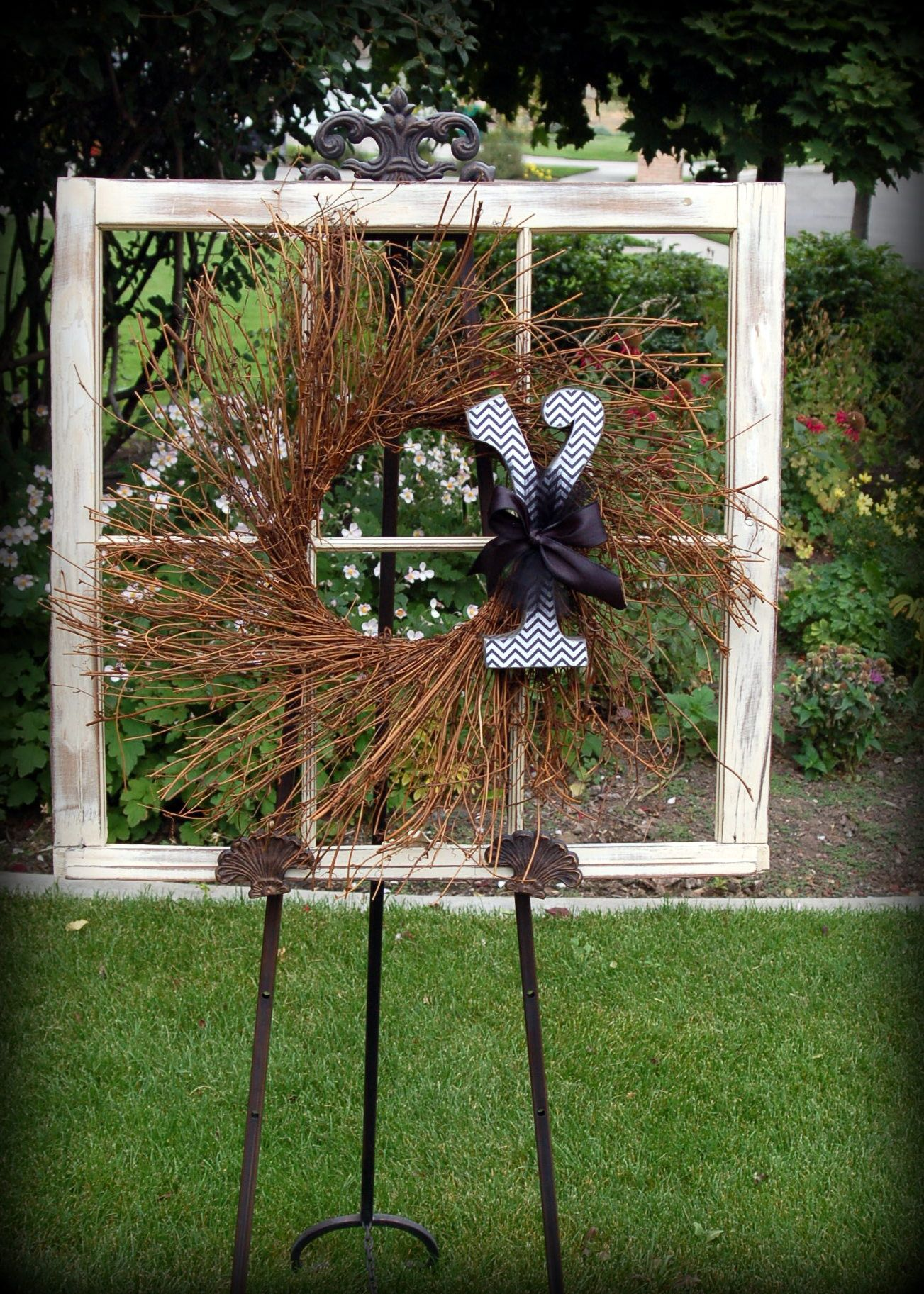 Window frame decor with wreath  love this wreathtually i love everything about thisi know
