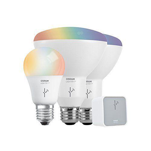 Sylvania Lightify By Osram Smart Home Led Starter Kit Includes 1 A19 Rgbw 60w 2 Br30 Rgbw 65w 1 Gateway Sylvania Smart Home Home Automation