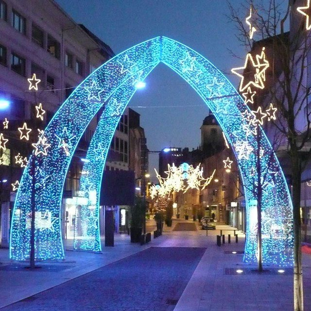 large outdoor christmas decorations blue led arch