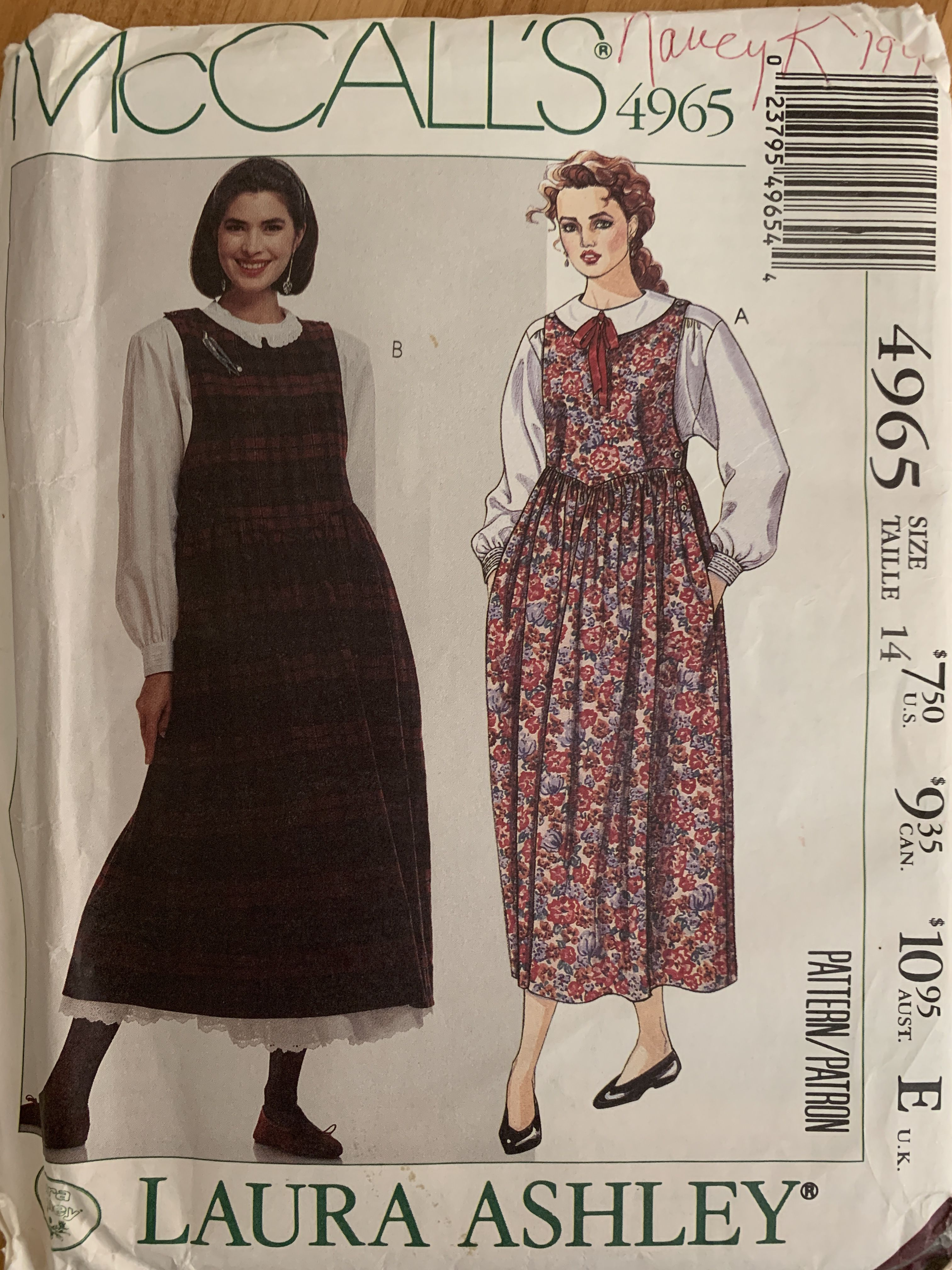 1989 Mccall S 4965 Fashion Petticoat Laura Ashley
