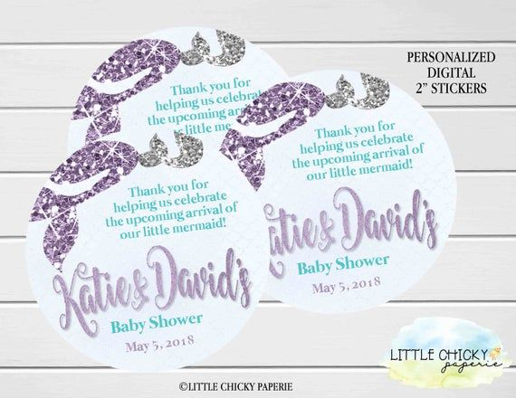 Mermaid Baby Shower Stickers, Mermaid Favor Tags, Party Favor Tags, Digital File, Printable File