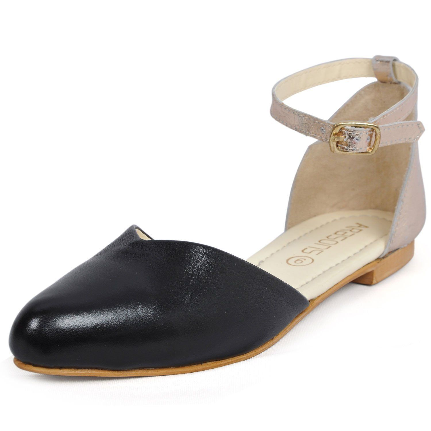 ac5bd361938 Women s Pure Leather Cleopatra Ballet Flat - Black And Beige Closed Toe  Design By ARasons