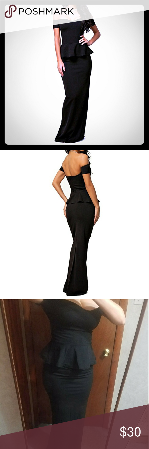 Formal long black dress long black maxi gowns and slim waist