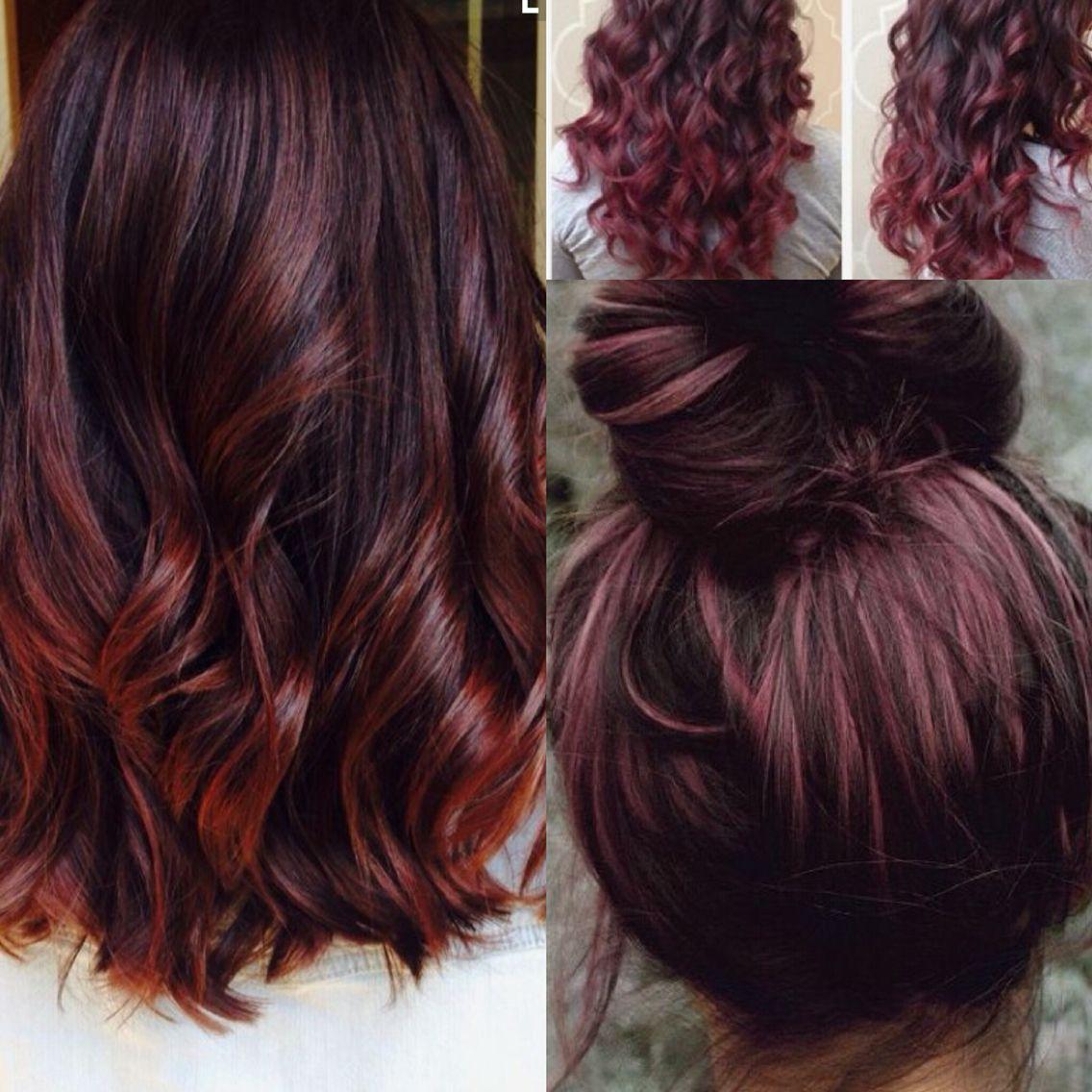 cherry cola hair red balayage