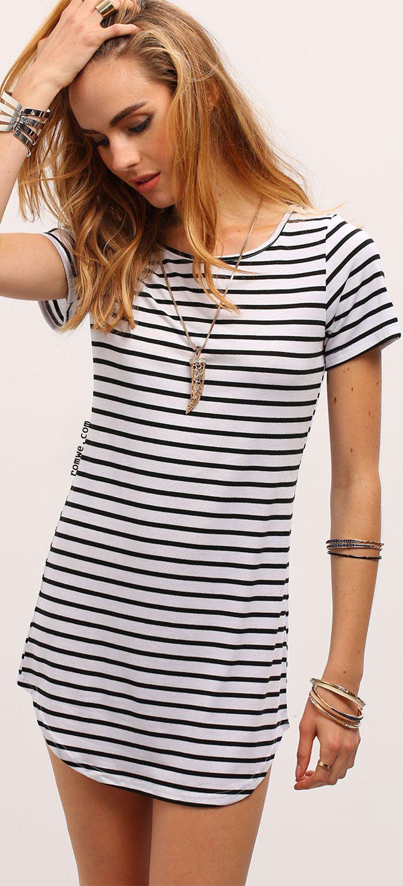 107ab020e522 ... Casual short Sleeve O-Neck Long Tees Tops. Black White Striped Curved  Hem T-shirt Dress