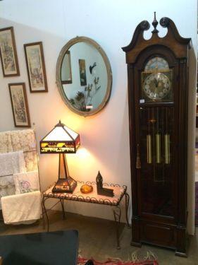 "Grandfather Clock   77.5"" Tall x 20"" Wide x 12"" Deep   $395  Rubbish Designer Vintage Finds Dealer #3501  Lucas Street Antique Mall 2023 Lucas Dr. Dallas, TX 75219  Like us on Facebook: h"