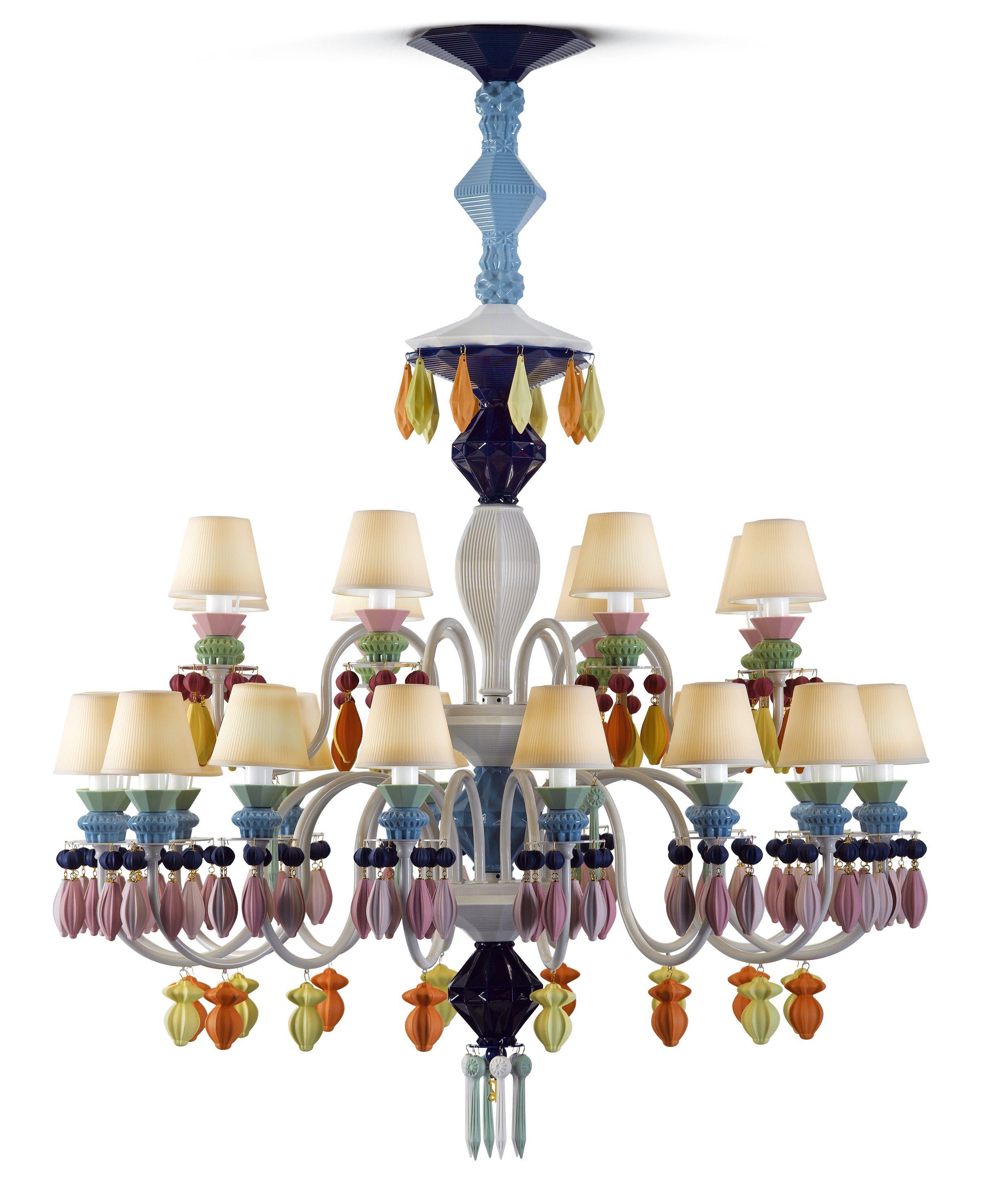 Lladr atelier belle de nuit porcelain chandelier multicolour lladro chandelier in multicolor chandelier entirely made in porcelain arubaitofo Gallery