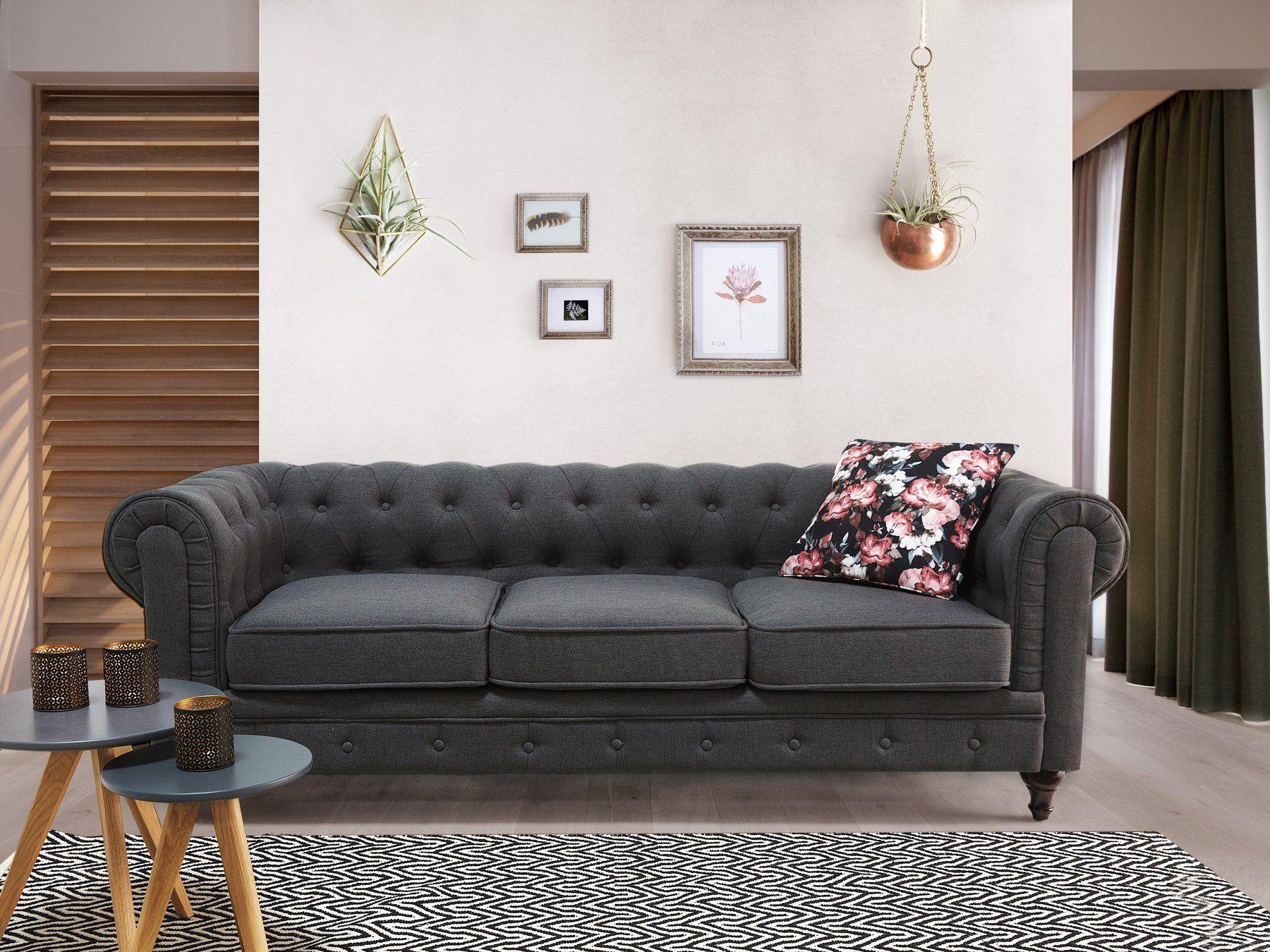 Beliani Modern 3seater Sofa Gray Fabric Chesterfield Want