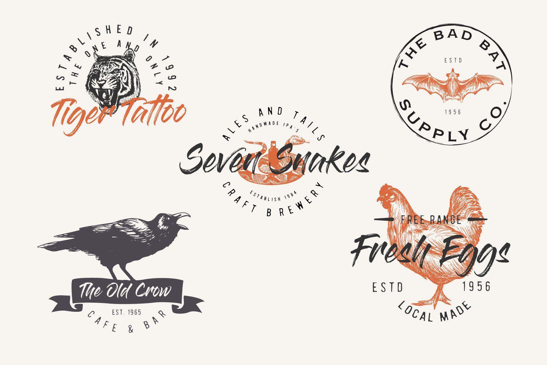 Vintage Sketched Animal logos in 2020 Animal logo, Logo