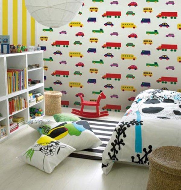 Car themed kids room wallpaper