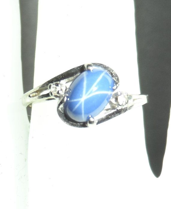 10k White Gold Blue Star Sapphire And Diamond Accent Ring Size Blue Star Sapphire Star Sapphire Star Sapphire Ring