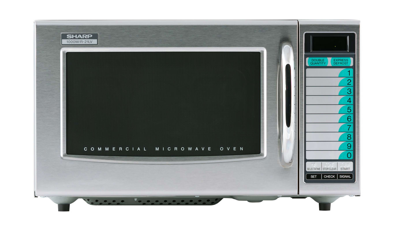 Sharp R 21lvf Stainless Steel 1000 Watt Commercial Microwave With