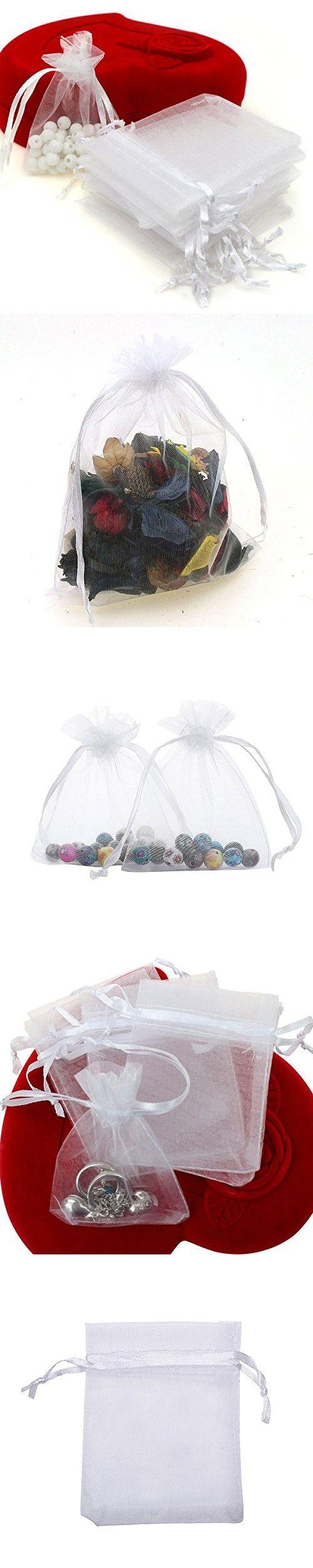 Dealglad 100pcs Drawstring Organza Jewelry Candy Pouch Party Wedding ...