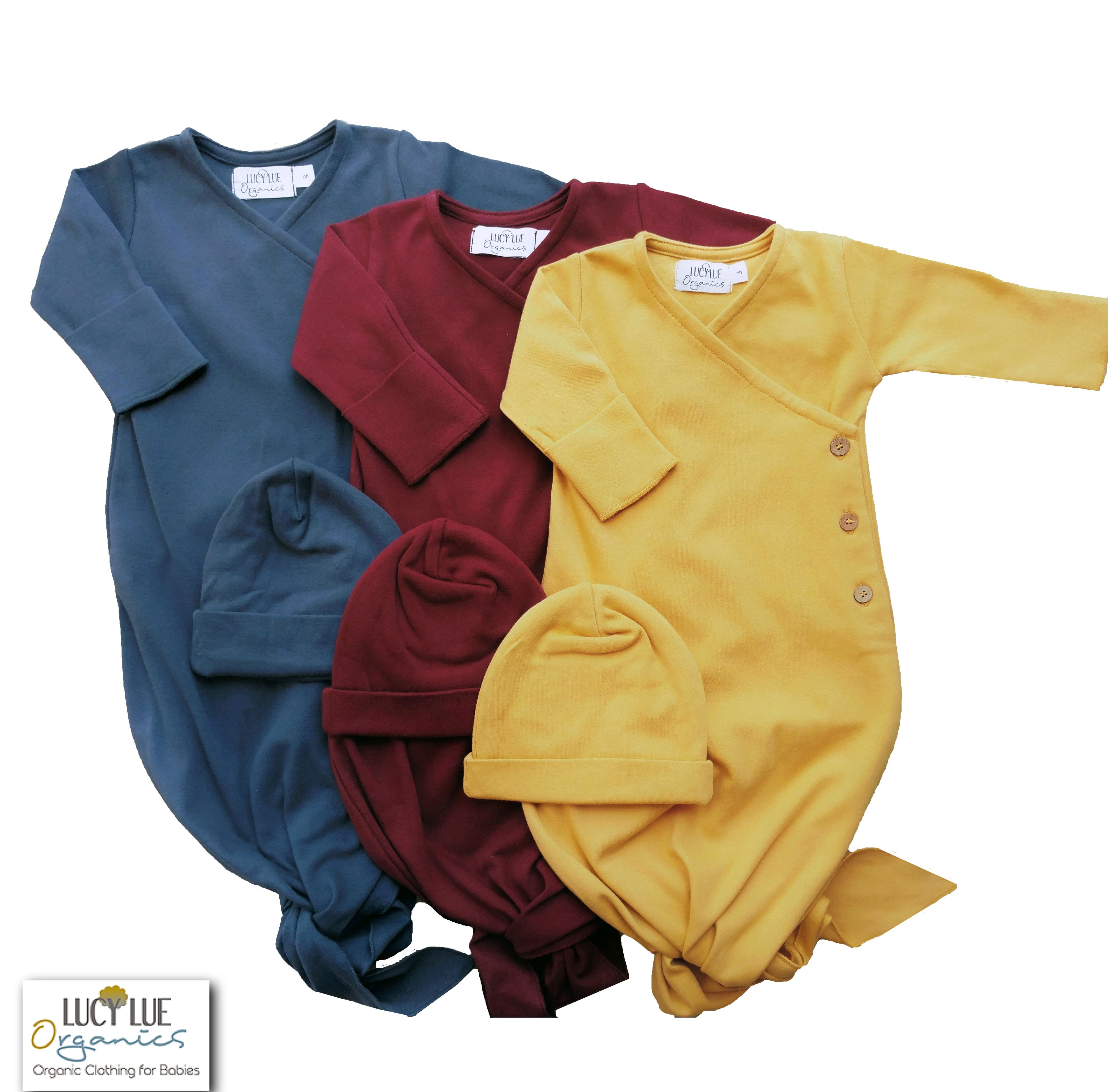 Organic cotton Knotted Kimono baby gown by Lucy Lue Organics. New