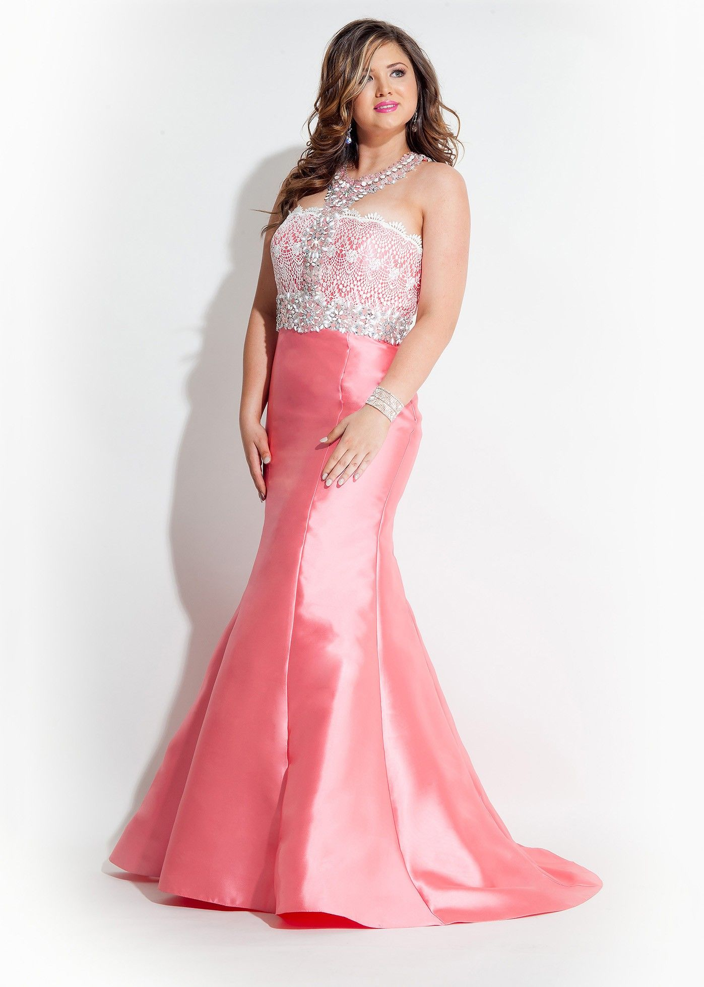 Rachel Allan 7405 White/Coral High Neck Plus Size Mermaid Gown ...