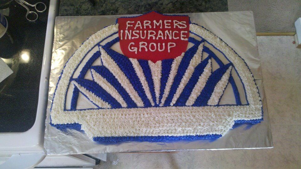 Farmers insurance logo cake I made for company party (With