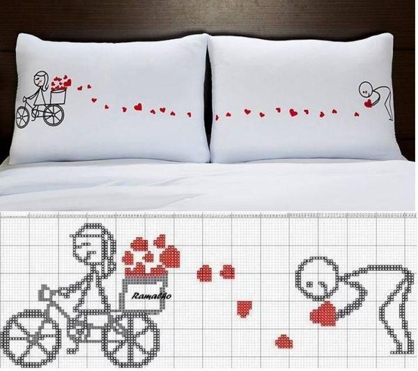 Esquema de punto de cruz para bordar las almohadas ¡muy lindo! by ...