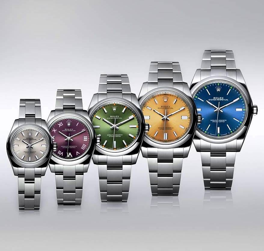 The Rolex Oyster Perpetual allows to choose any colour you like.  Which one is your favourite?