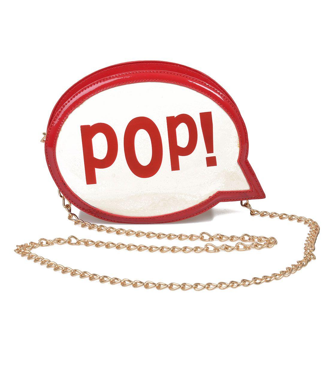 Red & White Patent POP! Speech Bubble Purse - via unique-vintage.com
