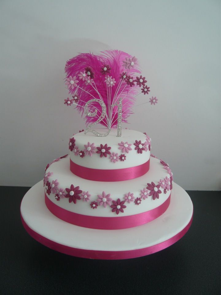 Pink 21st Birthday Cake With Feathers And Daisies